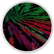Computer Generated Red Green Abstract Fractal Flame Modern Art Round Beach Towel