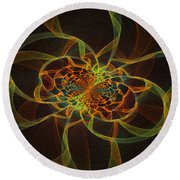 Computer Generated Yellow Vortex Abstract Fractal Flame Art Round Beach Towel