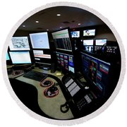Control Room Center For Emergency Round Beach Towel