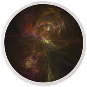 Cosmic Image Of A Colorful Nebula Round Beach Towel
