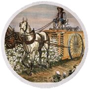 Cotton Harvester, 1886 Round Beach Towel