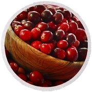 Cranberries In A Bowl Round Beach Towel by Elena Elisseeva