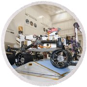 Curiosity Rover In The Testing Facility Round Beach Towel