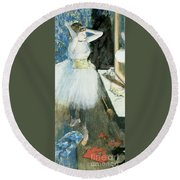 Dancer In Her Dressing Room Round Beach Towel by Edgar Degas