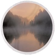 Dawn On The Yellowstone River Round Beach Towel
