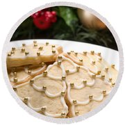 Decorated Cookies In Festive Setting Round Beach Towel