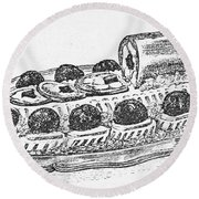 Decorative French Cuisine Round Beach Towel