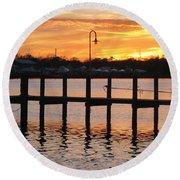 Dock Sunset Round Beach Towel