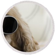 Dog With Sunglasses Round Beach Towel