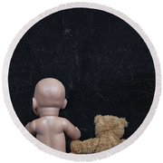 Doll And Bear Round Beach Towel