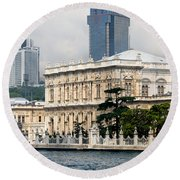 Dolmabahce Palace In Istanbul Round Beach Towel