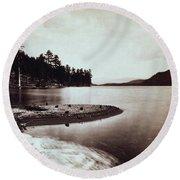 Donner Lake - California - C 1865 Round Beach Towel
