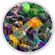 Dont Fall On The Road 3d Abstract I Round Beach Towel
