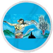 Dragon Dancer Round Beach Towel