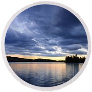 Dramatic Sunset At Lake Round Beach Towel