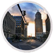 Early Morning Court Street Round Beach Towel