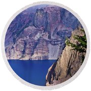 East Rim Of Crater Lake Round Beach Towel