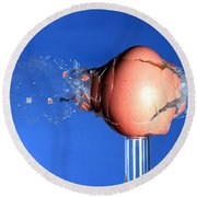 Egg Hit By A Bullet Round Beach Towel