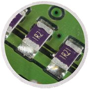 Electronics Board With Lead Solder Round Beach Towel