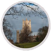 Ely Cathedral In City Of Ely Round Beach Towel