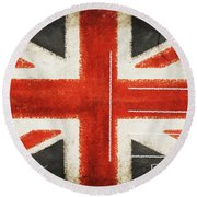 England Flag Postcard Round Beach Towel