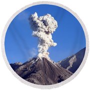 Eruption Of Ash Cloud From Santiaguito Round Beach Towel