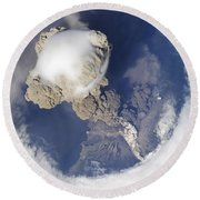 Eruption Of Sarychev Volcano Round Beach Towel