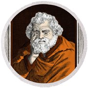 Euclid, Ancient Greek Mathematician Round Beach Towel