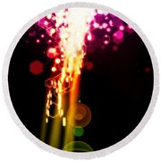 Explosion Of Lights Round Beach Towel