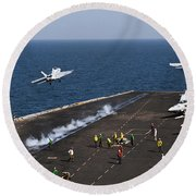 Fa-18f Super Hornets Launch Round Beach Towel