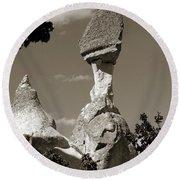 Fairy Chimney In Goreme Round Beach Towel