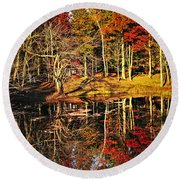 Fall Forest Reflections Round Beach Towel by Elena Elisseeva
