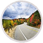 Fall Highway Round Beach Towel