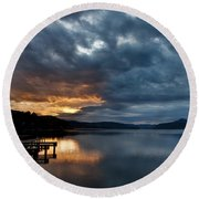 Fall Sunset Over Lake Pend Oreille Round Beach Towel