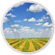 Farm Field At Harvest In Saskatchewan Round Beach Towel