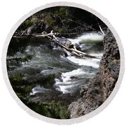 Fast Moving Firehole River Round Beach Towel