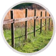 Fence Perspective Round Beach Towel