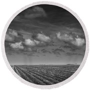 Field Furrows And Clouds In South East Texas Round Beach Towel