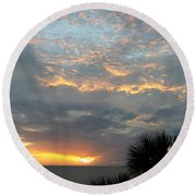 Fiery Sky Round Beach Towel