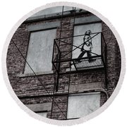 Fire Escape  Round Beach Towel