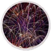 Fireworks Round Beach Towel