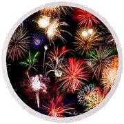 Fireworks Medley Round Beach Towel
