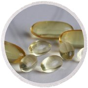 Fish Oil 1200mg And Vitamin E Round Beach Towel