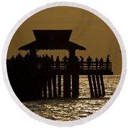 Fishing At Naples Pier Round Beach Towel