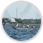 Fishing The Flats Round Beach Towel