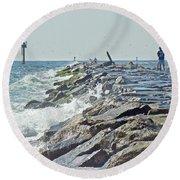 Fishing The Jetty - Island Beach State Park   Nj Round Beach Towel