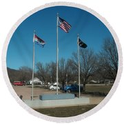 Flags With Blue Sky Round Beach Towel