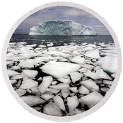 Floating Ice Shattered From Iceberg Round Beach Towel