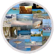 Florida Collage Round Beach Towel