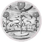 Flower Clock, 1643 Round Beach Towel